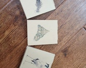 CUSTOM ORDER - For Crystal: Jotter Journals - (set of 3 mini journals - feather, seashell and crane)