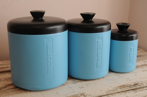 Vintage Turquoise Kitchen Canisters Metal Set of 3