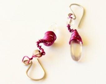 cristal quartz earrings ·· dangle earrings ·· purple earrings ·· wire wrap earrings ·· everyday earrings ·· handmade