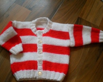 hand knitted baby cardigan / hand knit sweater /  red and white baby cardigan /  striped sweater 0-3 month