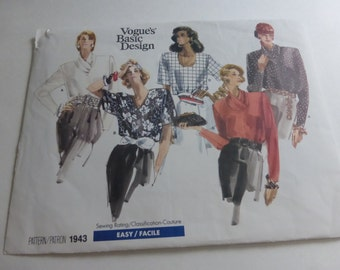 Vintage Vogue Basic Design Pattern 1943 Blouse Misses Multi Size 8-10-12  Factory Fold