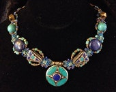 OOAK Amazing Nepalese Lapis, Turquoise and Brass Woven Necklace