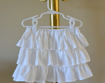 White striped seersucker skirt for toddlers/girls, layered tiers of ruffles, perfect for summer, special occasion, photo outfit, 1T - 4T.