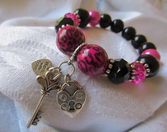 Hot Pink Leopard Print Bracelet