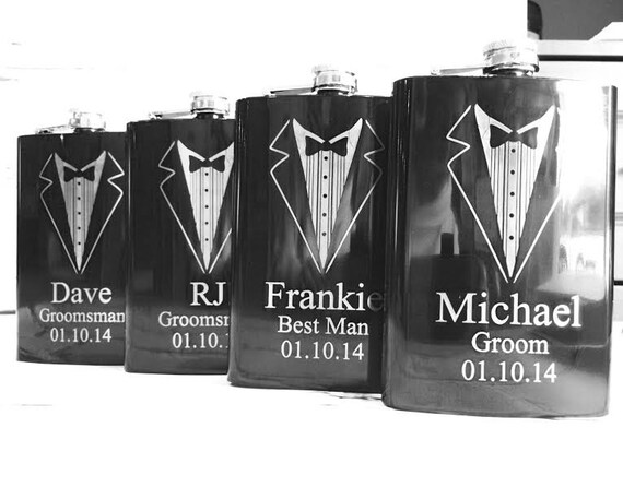 Good Wedding Party Gifts For Groomsmen: Groomsman Gifts/SET OF THREE Engraved Flasks/Personalized