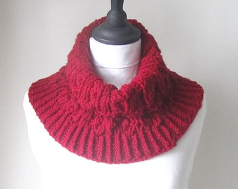 Cherry red cowl, red neck warmer, Chunky cowl, knit cowl, Winter accessories, Fall accessories, uk seller, ladies cowl, ladies accessories