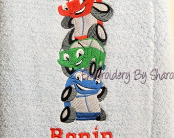 Personalized kids Bath Towel - Cars - Great childrens gifts -Personalized childrens bath towels -