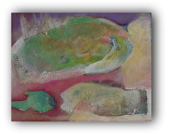 ABSTRACT FISH PAINTING  - Acrylic on Canvas - Pastel Colors Art - Textured Painting by Teofana