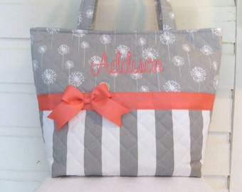 XL Gray Dandelions and Stripes Quilted Purse / Tote / Diaper Bag (You Pick Accent Color)