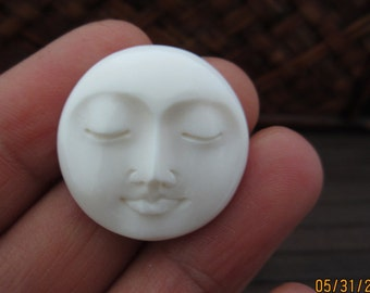 25mm Gorgeous Hand Carved Moon Face Closed Eye drilled, , Embellishment, Moon face cameo, Bone Carving B4271