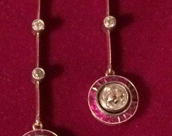 Antique Art Deco Diamond & Ruby Lavaliere Necklace