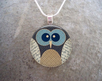 Owl Jewelry - Glass Pendant Necklace - Owl 16