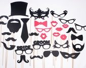 Photo Booth Props Photobooth prop - Bride Groom Wedding Bash - On a Stick - Mustache Moustache Party - Photo