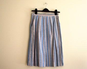 Vintage Light Blue, Grey & Red Striped  A Line Skirt / Secretary Skirt / Small - 1970s