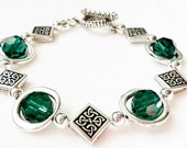Silver Celtic Knot Beaded Bracelet with Emerald Swarovski Crystals Framed in Silver