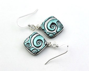 Turquoise, Silver, and Black Swirls Polymer Clay Earrings, Sterling Silver Wire Wrapped