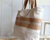 BLACK FRIDAY SALE  Recycled antique linen tote bag with burlap, shoulder bag