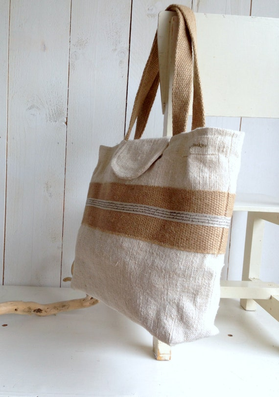 BLACK FRIDAY SALE  Recycled antique linen tote bag with burlap, shoulder bag