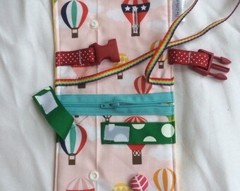 Hot air balloon Busy blanket - a buckle, snap, zip, Velcro, and button toy - fine motor skills practice