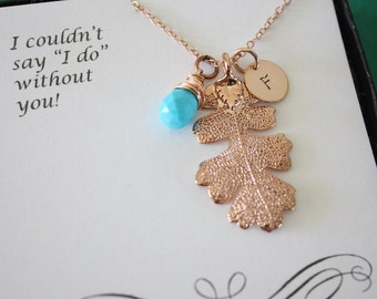 2 Bridesmaid Necklaces Leaf Personalized, Bridesmaid Gift, Birthstone, Small Real Leaf Necklace,Initial Rose Gold Filled Charm