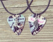 Her Cowboy His Angel necklaces boot wing silver charm guitar pick matching country love girl guy cute Valentine's Day Anniversary Gift
