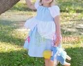 Cinderella inspired peasant dress , light blue and white peasant dress , princess dress