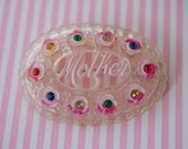 MOTHER CELLULOID Rhinestone Oval Pin Pink 1940s Vintage