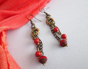 Coral Red Beaded Earrings / Red Dangle Earrings / Swarovski Pearl Earrings / Boho Earrings / Antique Brass Earrings / - Regal Red