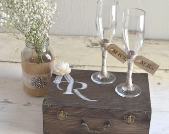 Wedding Toasting Glasses with Wooden Keepsake Box by Burlap and Linen Co