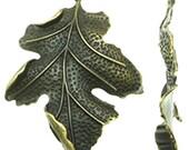 2pc large 67x51mm antique bronze finish leaf pendants-9048