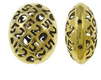 2pc 22X17mm antique gold finish flat oval hollow fancy beads-8560