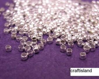 100pc SP Silver Crimp Ball Stopper Metal Bead 2mm-590