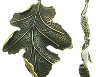 2pc large 67x51mm antique bronze finish leaf pendants-9048