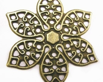 8pc antique bronze filigree wraps-4197