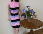 Barbie clothes - pink, black and grey striped dress