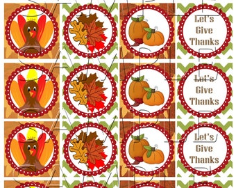 Thanksgiving cupcake toppers Printable DIY Set of 20 Turkey Instant Download 4 Cupcake Wrappers