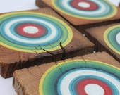 Primary Painted Coasters Made from Reclaimed Barn Beam Wood - Set of 5  (5RBBWC6)