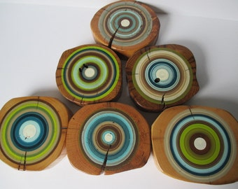 Eco Friendly Tree Ring Wall Decor - Made from Reclaimed Barn Beams - Great for Beach House - Set of 6 (6EFBBTR1)