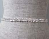 2 row Silver Rhinestone bridal wedding sash / belt, bridesmaid sash