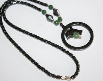 Vintage Hematite Necklace  Jade Dolphin Pendant 1970s Jewelry