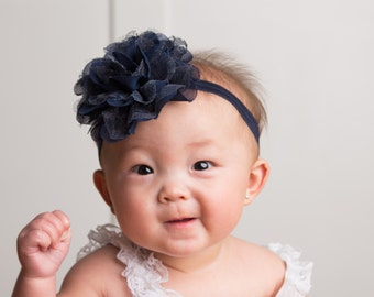 Navy Baby Headband, Baby Girl Headband..Navy Bow Headband..Infant Headband..Flower Headbands..Baby Girl Bow. baby, 4th of July Bow, hairbow
