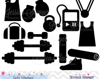 INSTANT DOWNLOAD, workout silhouettes clipart, silhouette clipart,  for greeting cards, announcements, scrapbooking