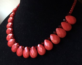 Red Teardrop Jade Necklace, Red Teardrop Jade and Red Crystal Necklace