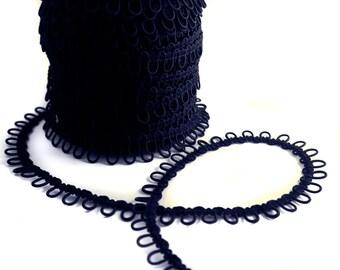 Navy Elastic Bridal Button Loops