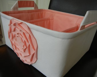 """LG Diaper Caddy(choose Basket  Rose Lining colors)12""""x 10""""x6"""" Two Dividers-Fabric Storage Organizer-Baby Gift-""""Pastel Pink Rose on White"""""""