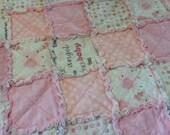 PINK BABY Rag Quilt & 3 burp rags