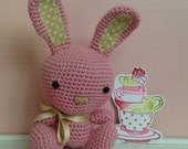 Blushing Crochet Bunny - Amigurumi Pink and Beige Rabbit - Bunny with a Satin Bow - Blushing Teacup Critters Collection