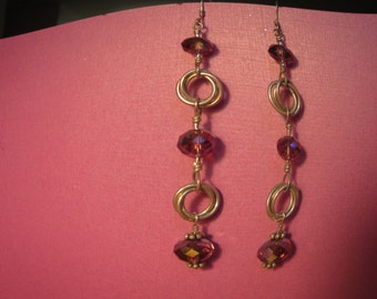 Sterling Silver Dangle Chainmaile Earrings with Svarovski Crystal Purple Beads