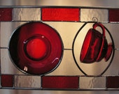 Ruby Red Moondrops Collectible Cup and Saucer set into Stained Glass