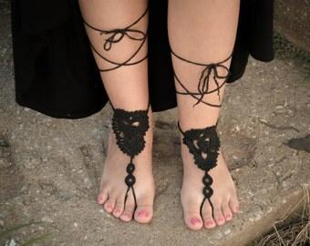 Handmade Crochet Barefoot Sandals,Hippie Foot Thongs, Bridal, Bridesmaids, Summer, Beach, Sandals, Festival,Yoga, Bellydancing,Bohemian